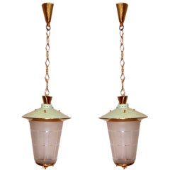 Pair of Mid-Century Italian Hanging Lanterns