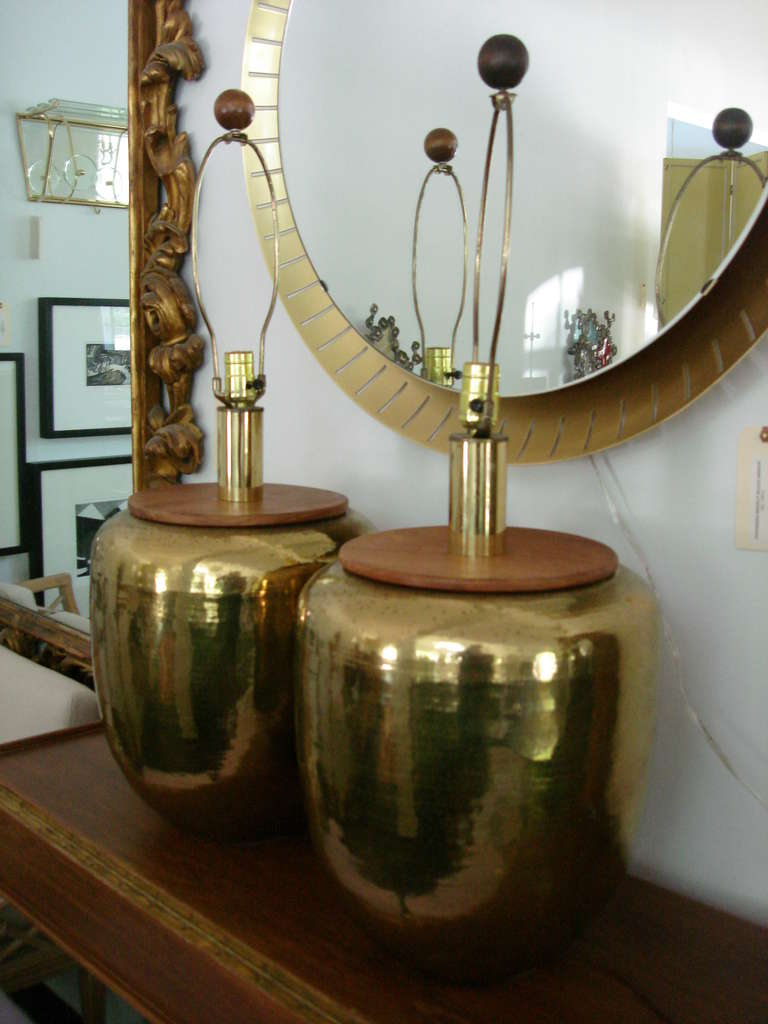 Oversized Hammered Brass Honeycomb Table Lamps at 1stdibs