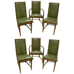 Six Leather and Oak Dining Chairs by Harold Schwartz for Romweber