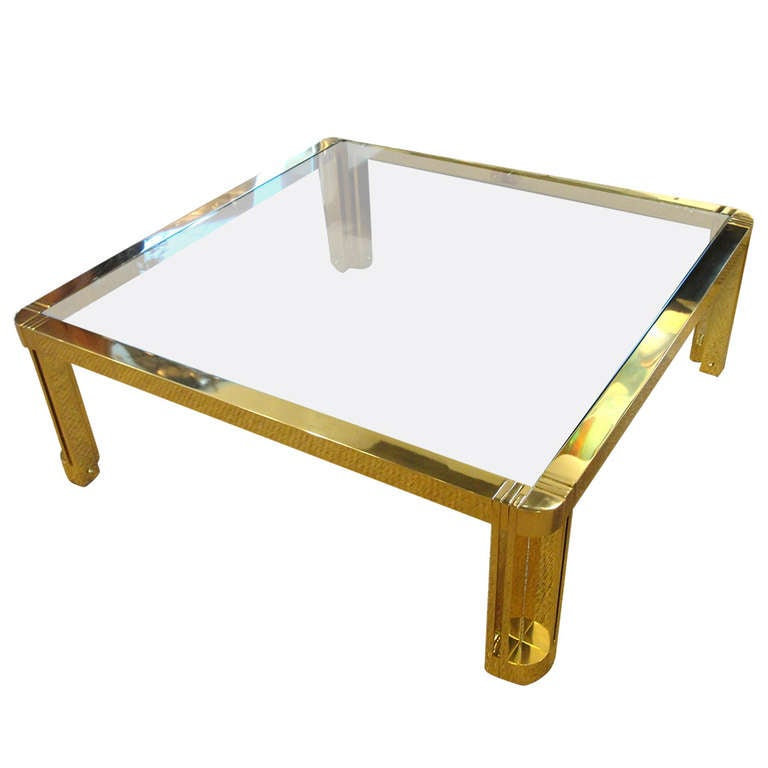 Oversized Polished Brass Coffee Table For Sale