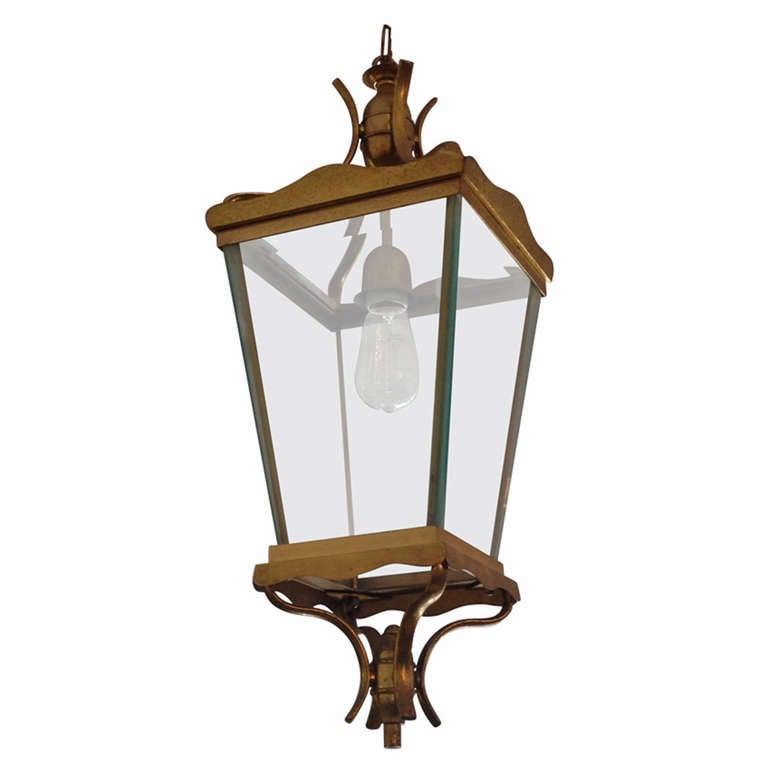 Vintage Italian Brass Lantern Hanging Light For Sale At