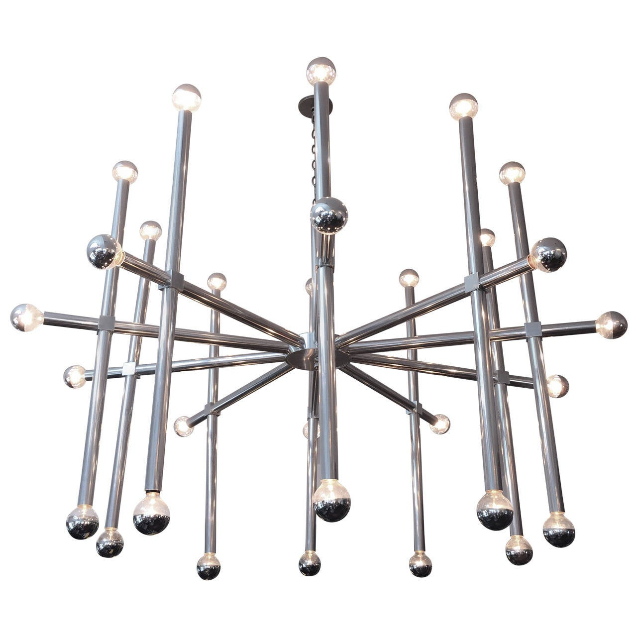 Oversized Ten-Arm Aluminum Chandelier with 30 Lights by John Vesey