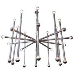 Massive Ten-Arm Aluminum Chandelier with 30 Lights by John Vesey
