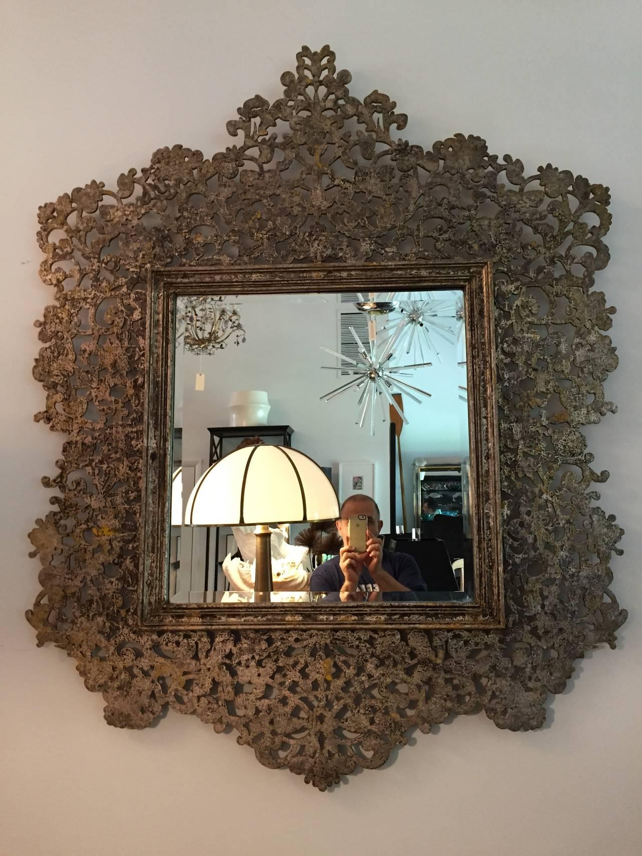 Large Round Mirror Wood Frame