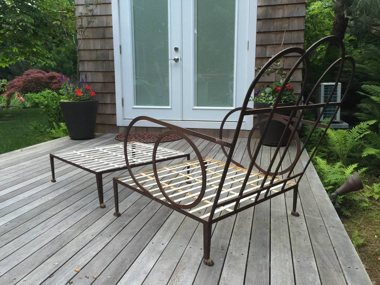 Outstanding Oversized Iron Armchair and Ottoman For Sale ...