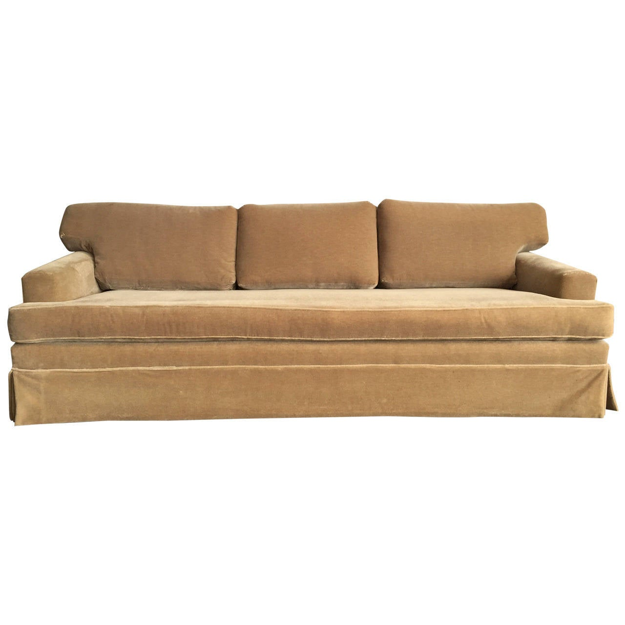 extra long classic jmf style mohair sofa at 1stdibs. Black Bedroom Furniture Sets. Home Design Ideas