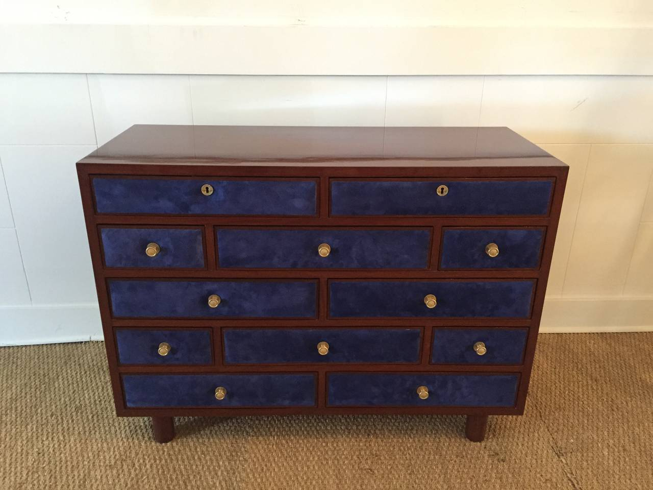Art Deco Maison Jansen Chest of Drawers with Blue Suede and Gold-Plated Pulls For Sale