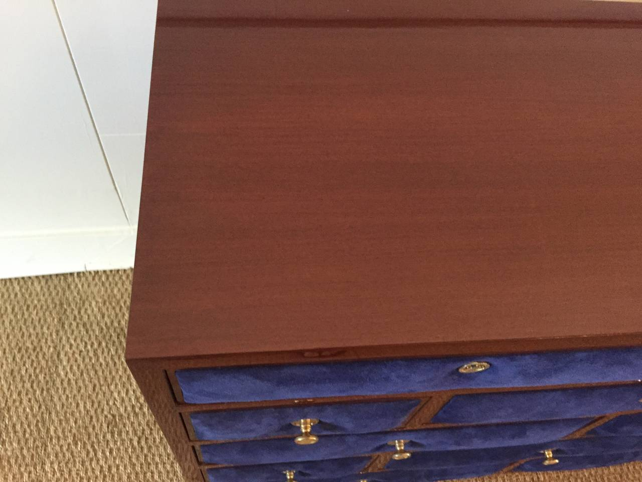French Maison Jansen Chest of Drawers with Blue Suede and Gold-Plated Pulls For Sale