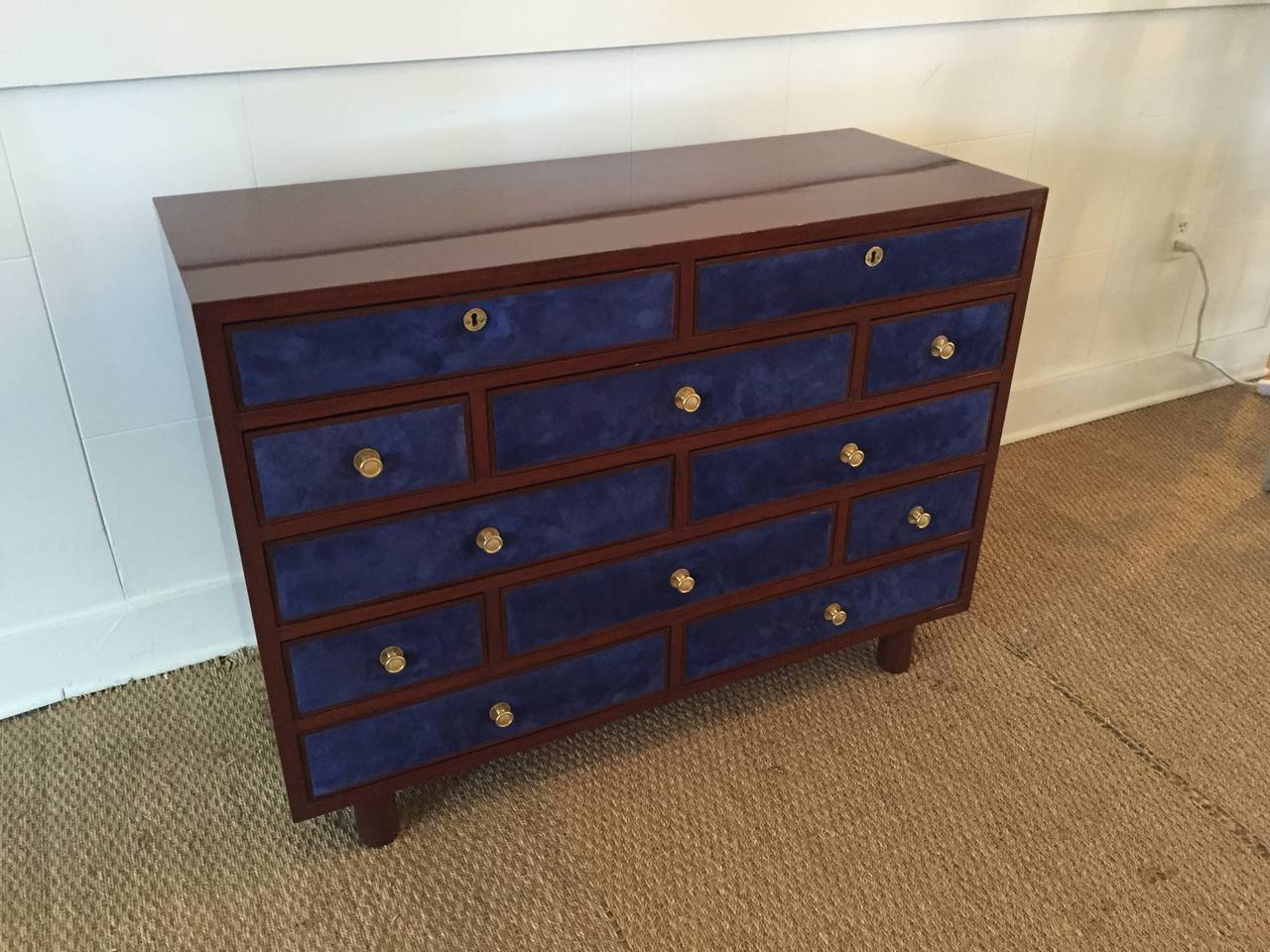Lacquered Maison Jansen Chest of Drawers with Blue Suede and Gold-Plated Pulls For Sale