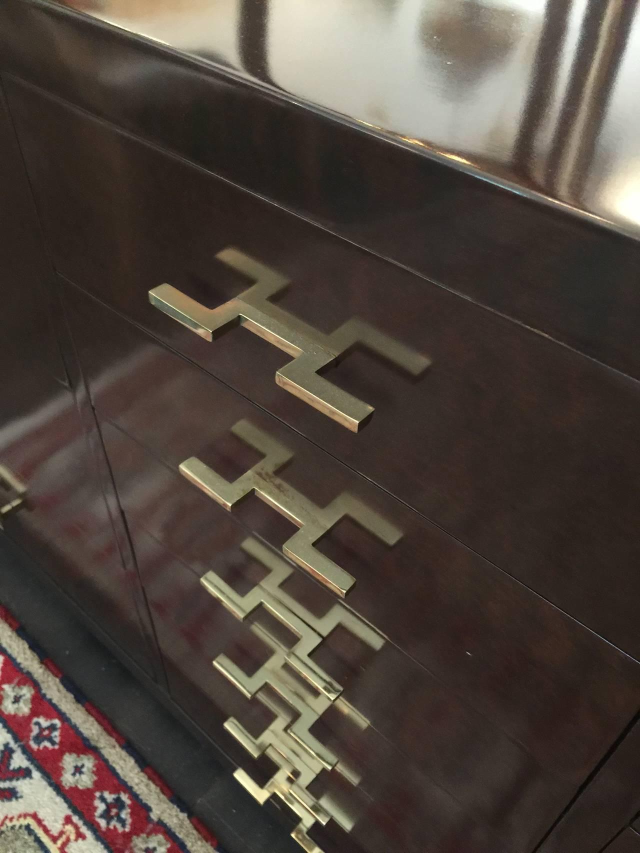 Art Deco Dark Stain Burl Wood Cabinet with Original Brass Key Hardware For Sale