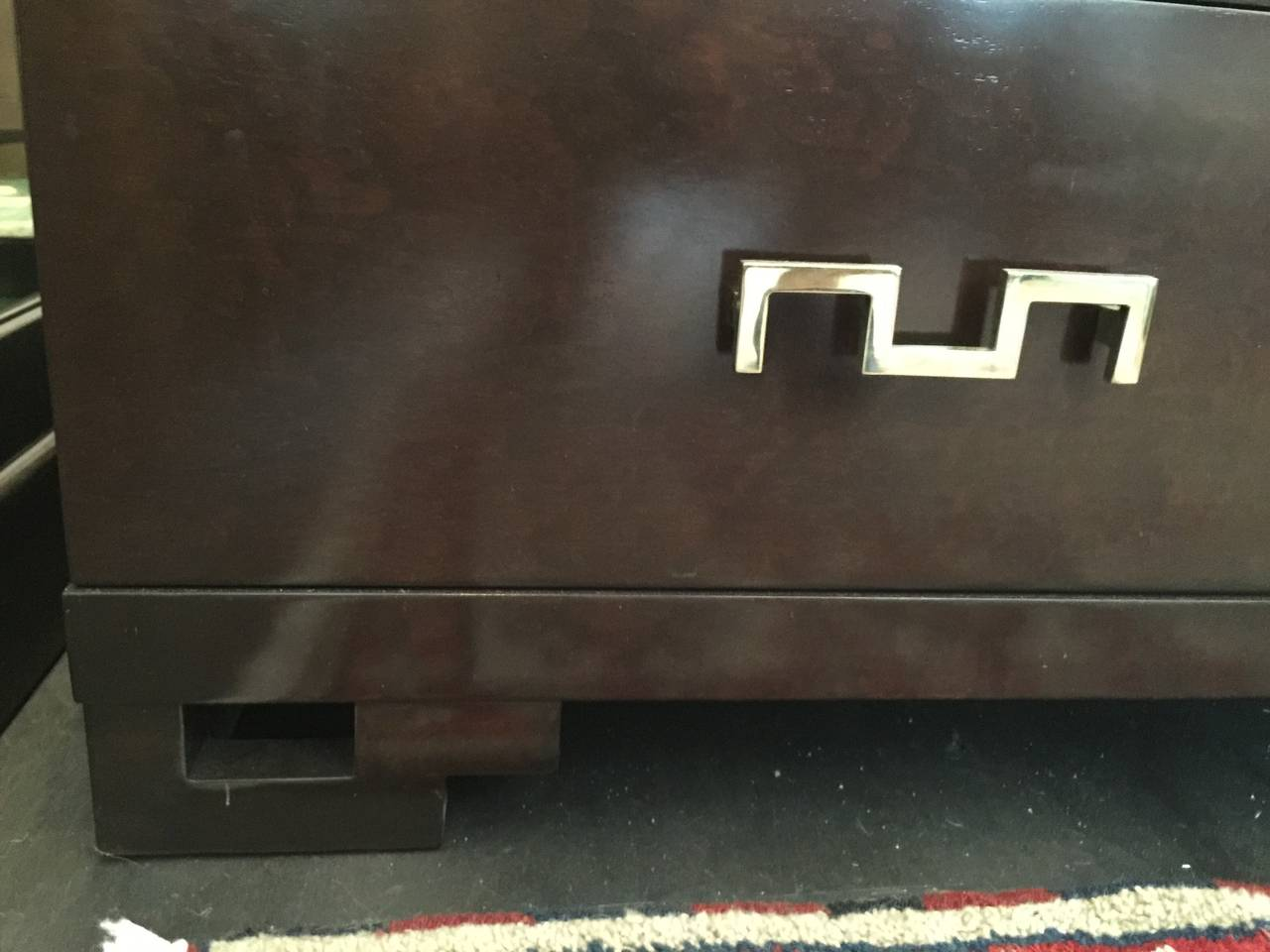 American Dark Stain Burl Wood Cabinet with Original Brass Key Hardware For Sale