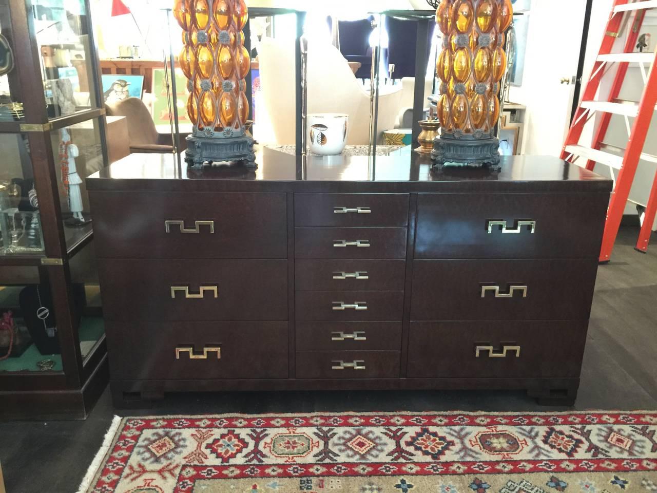 Mid-20th Century Dark Stain Burl Wood Cabinet with Original Brass Key Hardware For Sale