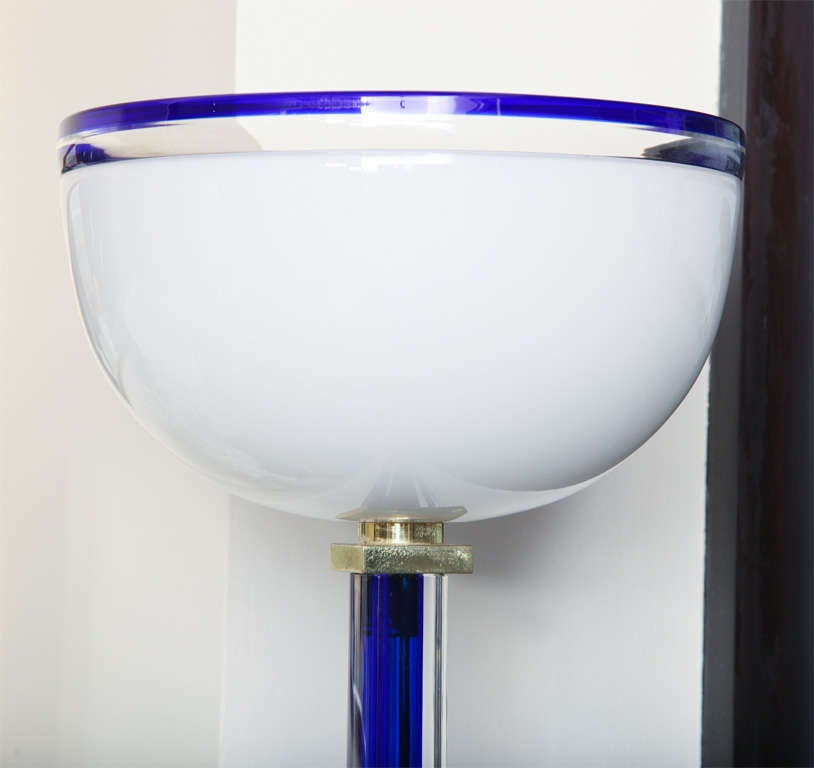 Art Deco Signed Venini Vintage Murano Glass Floor Lamp, Signed For Sale
