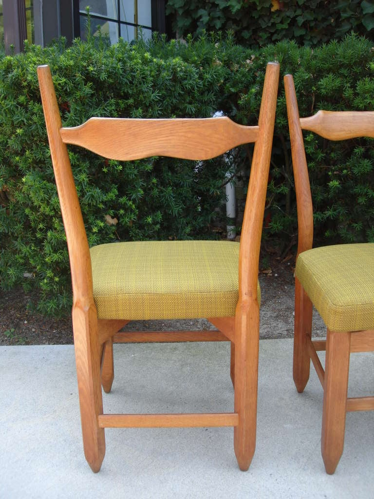Guillerme et Chambron Rare Set of Six French Oak Chairs In Excellent Condition For Sale In East Hampton, NY