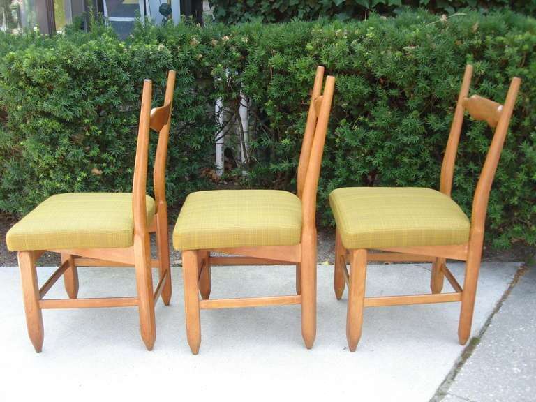 Guillerme et Chambron Rare Set of Six French Oak Chairs For Sale 1
