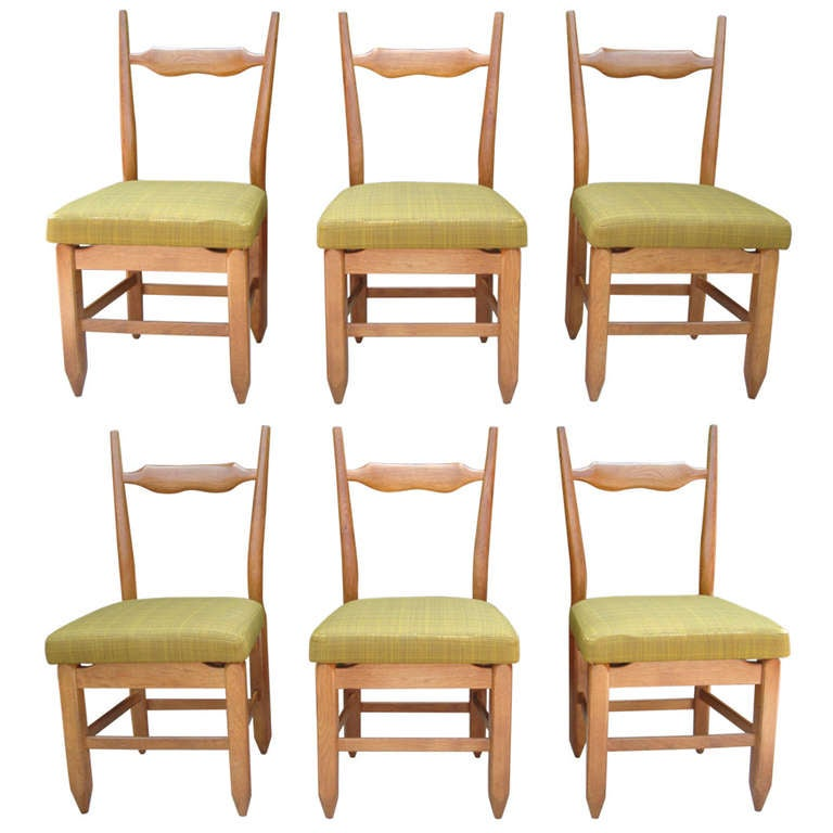 Guillerme et Chambron Rare Set of Six French Oak Chairs