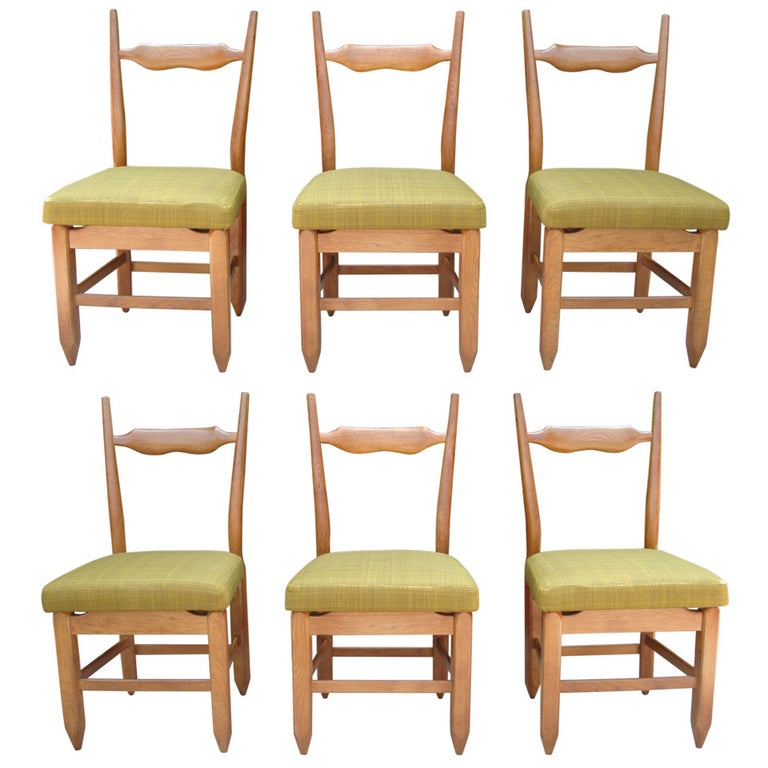 Guillerme et Chambron Rare Set of Six French Oak Chairs For Sale