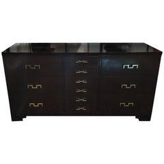 Dark Stain Burl Wood Cabinet with Original Brass Key Hardware