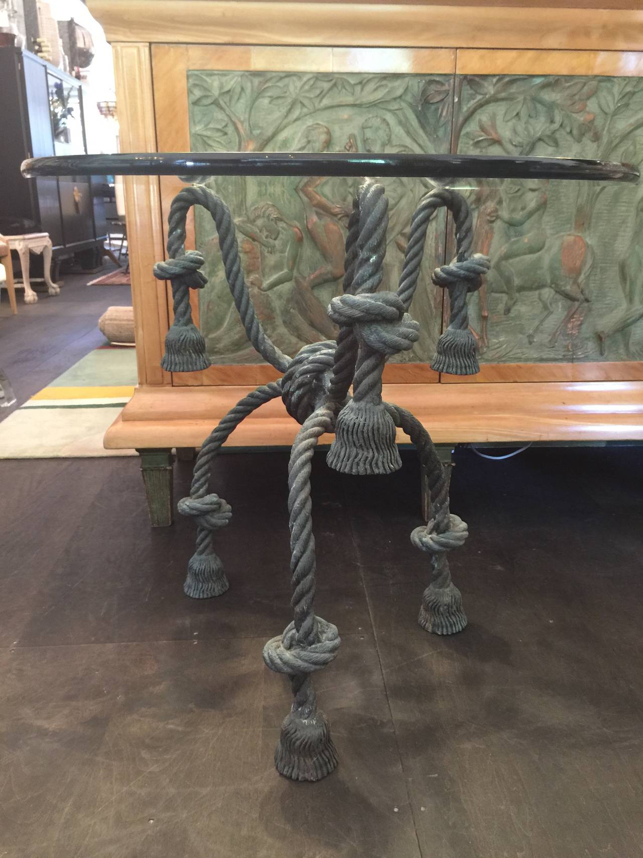 Patinated Important Detailed Bronze Tasselled Rope Table or Gueridon For Sale