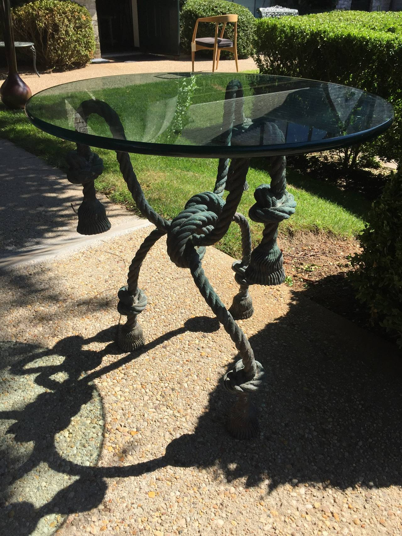 Important Detailed Bronze Tasselled Rope Table or Gueridon For Sale 3