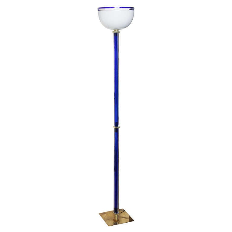 Cobalt blue glass venini floor lamp signed for sale at for Floor lamp with blue glass