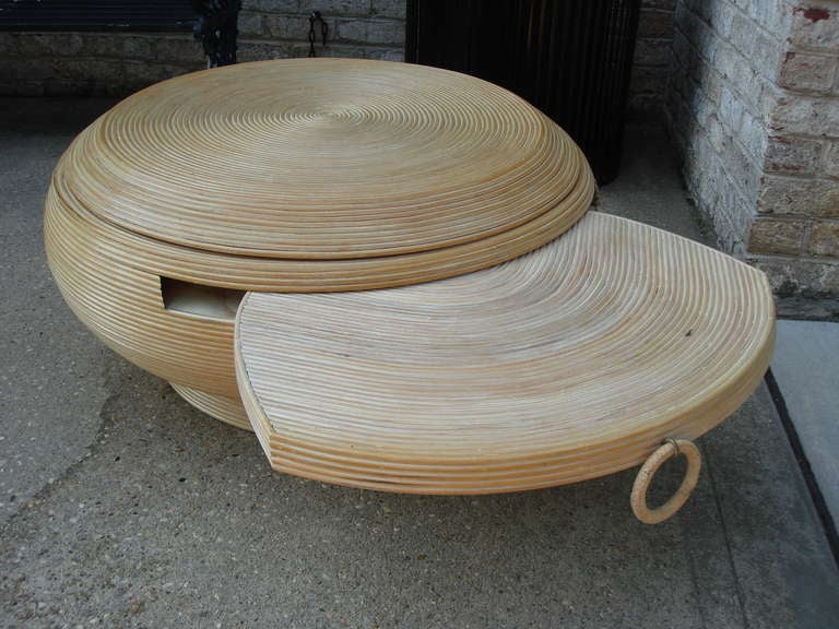rattan round cocktail table w swivel top at 1stdibs
