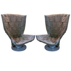Grey Woven Leather Chairs by Marzio Cecchi