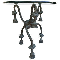 Important Detailed Bronze Tasselled Rope Table or Gueridon