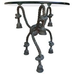 Important Detailed Bronze Tasselled Rope Table or Gueridon _SALE_