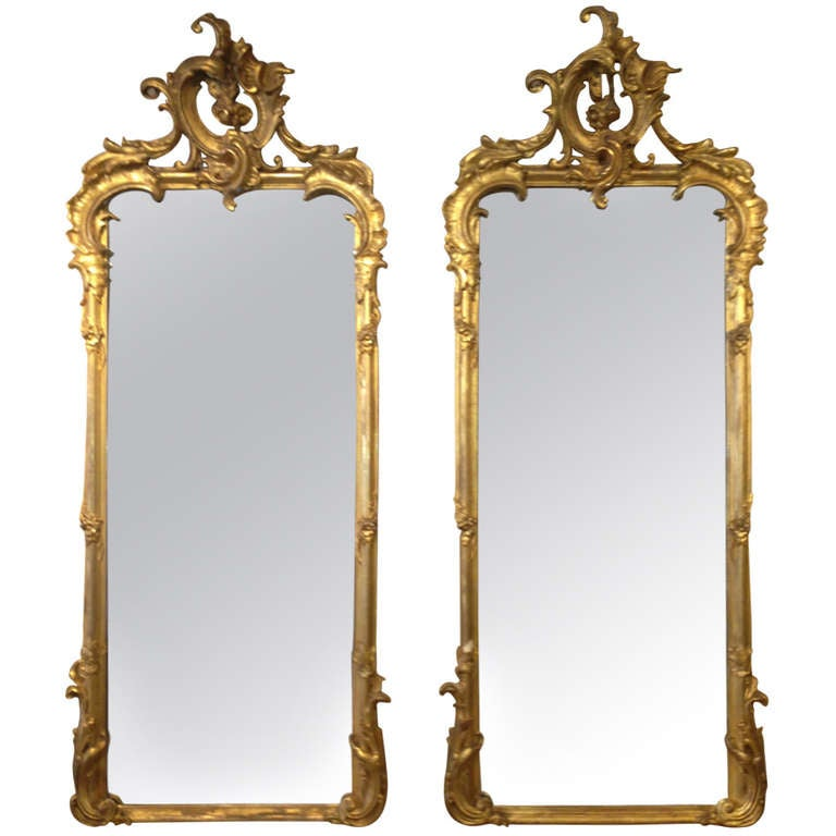Pair of tall 19th century venetian gilded mirrors at 1stdibs for Tall gold mirror