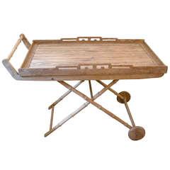 Vintage Sunbleached Oak Drink/Bar Cart
