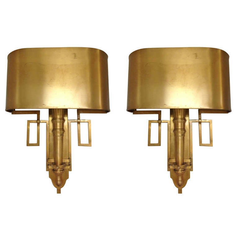 Large Elegant Wall Sconces : Pair of Elegant Brass Wall Sconces Attrib. Maison Charles at 1stdibs