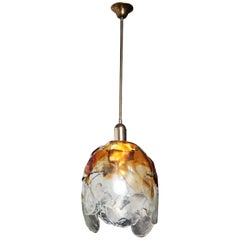 Carlo Nason for Mazzega Glass Tulip Design Hanging Light Fixture