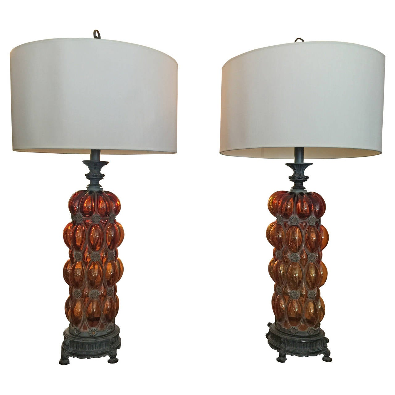 Grand Scale Murano Amber Bubble Glass and Iron Table Lamps For ...