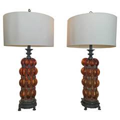 Grand Scale Murano Amber Bubble Glass & Iron Table Lamps