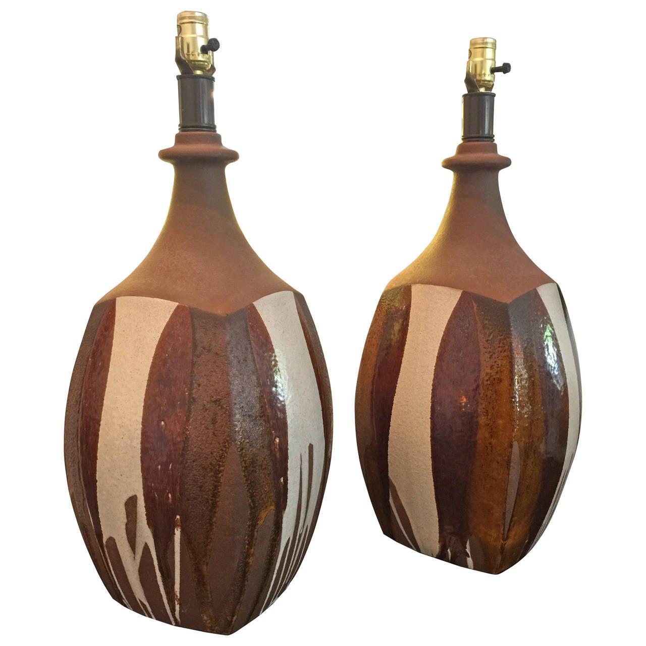 """David Cressey """"Flame"""" Ceramic Pair of Table Lamps"""