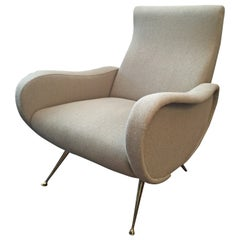Sculptural Zanuso Style Single Armchair