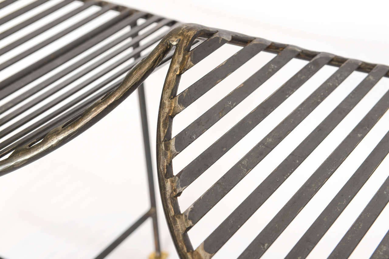 American Industrial Slatted Blackened Iron Bench For Sale