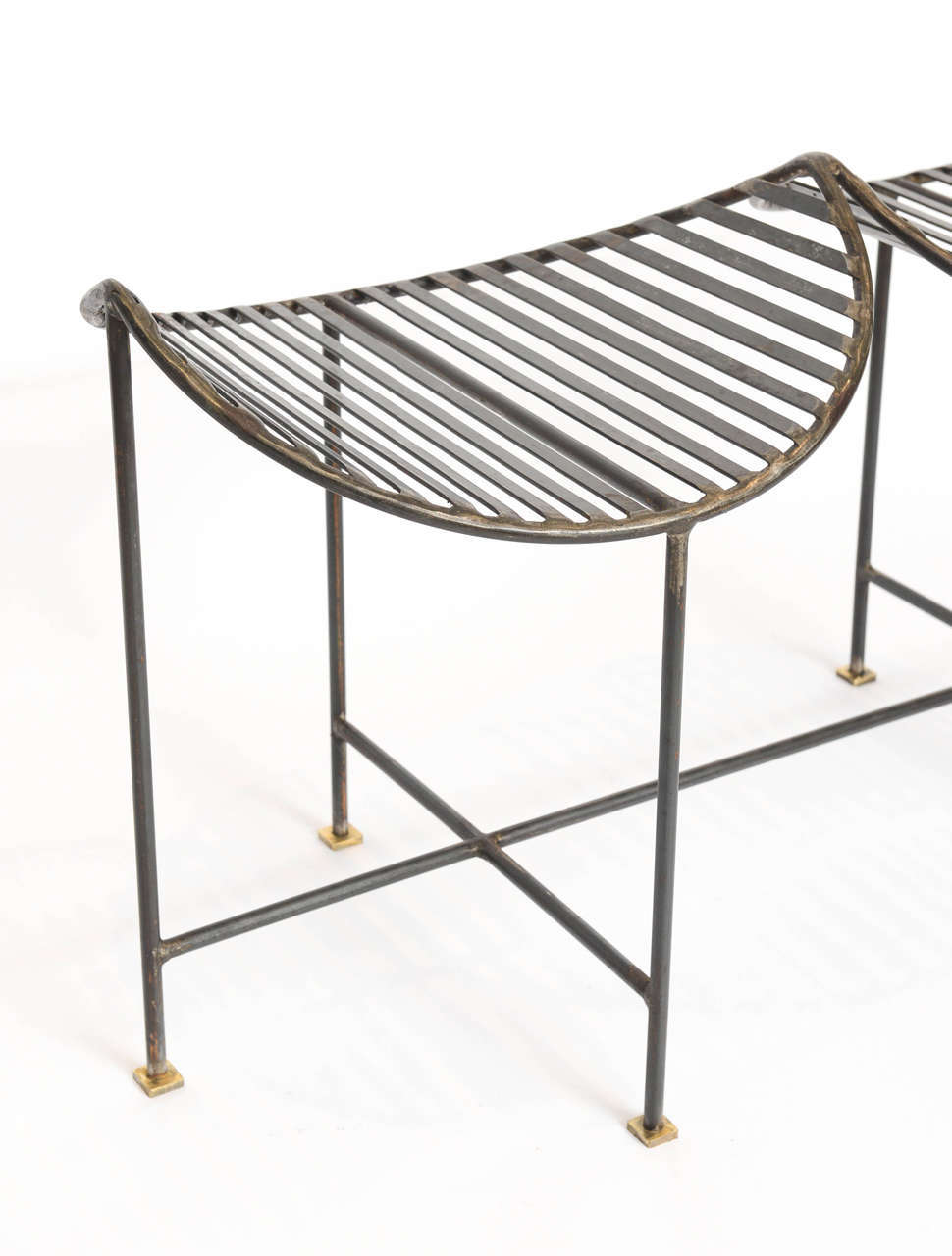 Industrial Slatted Blackened Iron Bench In Excellent Condition For Sale In East Hampton, NY