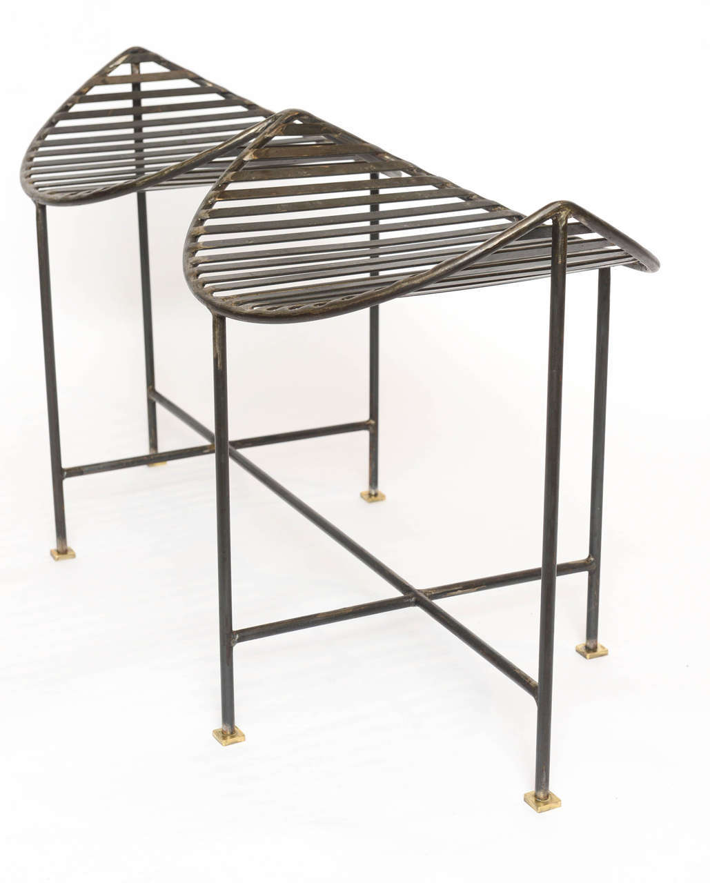 Brass Industrial Slatted Blackened Iron Bench For Sale