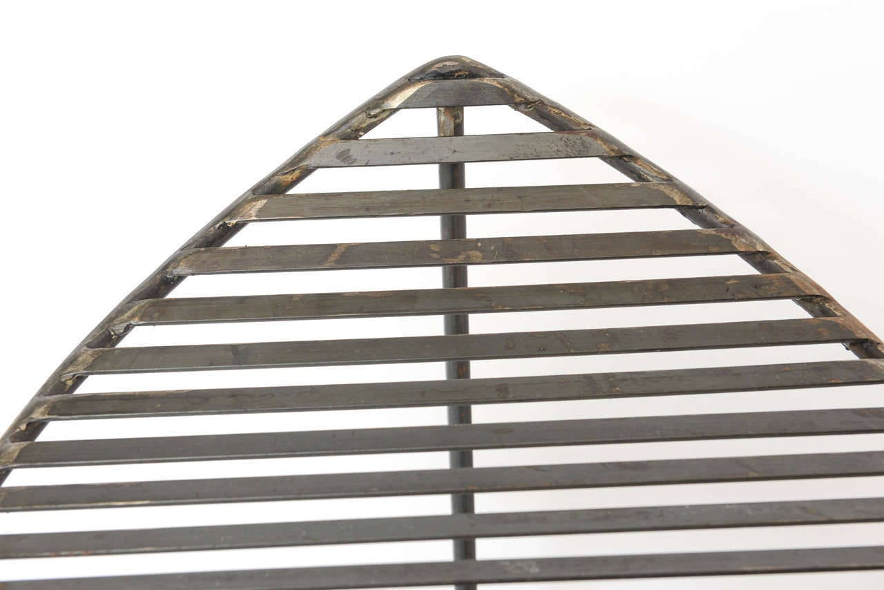 Industrial Slatted Blackened Iron Bench For Sale 2
