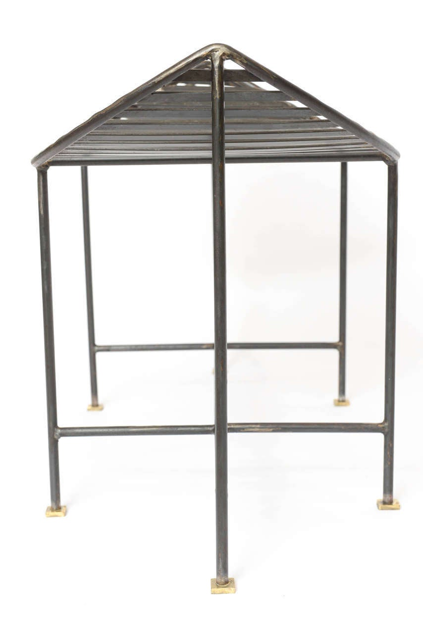 Industrial Slatted Blackened Iron Bench For Sale 4