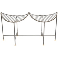 Industrial Slatted Blackened Iron Bench