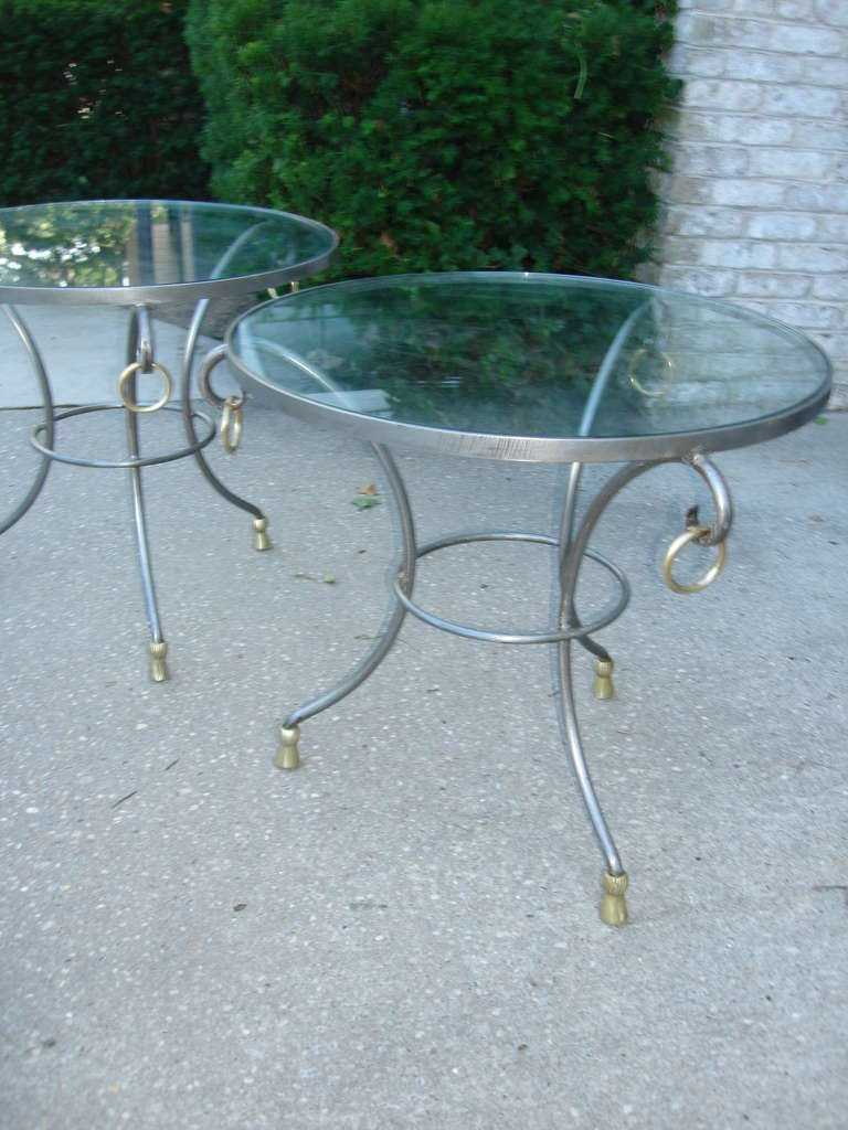 Brass Maison Jansen French Gueridon Side Tables For Sale