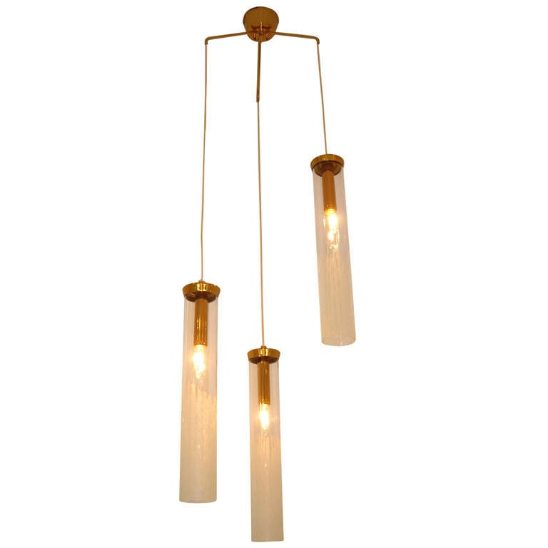 Outstanding Three Glass Difuser Hanging Light For Sale At
