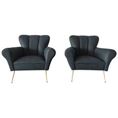 Pair of Italian Armchairs in Petroleum Blue Calfskin Leather - SALE
