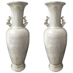 Pair of Highly Decorative Grand Scale Asian Earthenware Urns