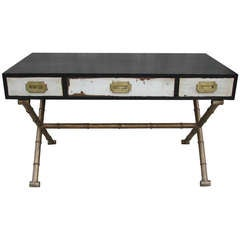 """Distressed Campaign Desk with Faux Bamboo """"X"""" Base"""