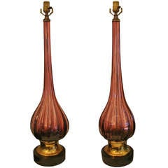 Pair of Extra Tall Amethyst Murano Glass Lamps