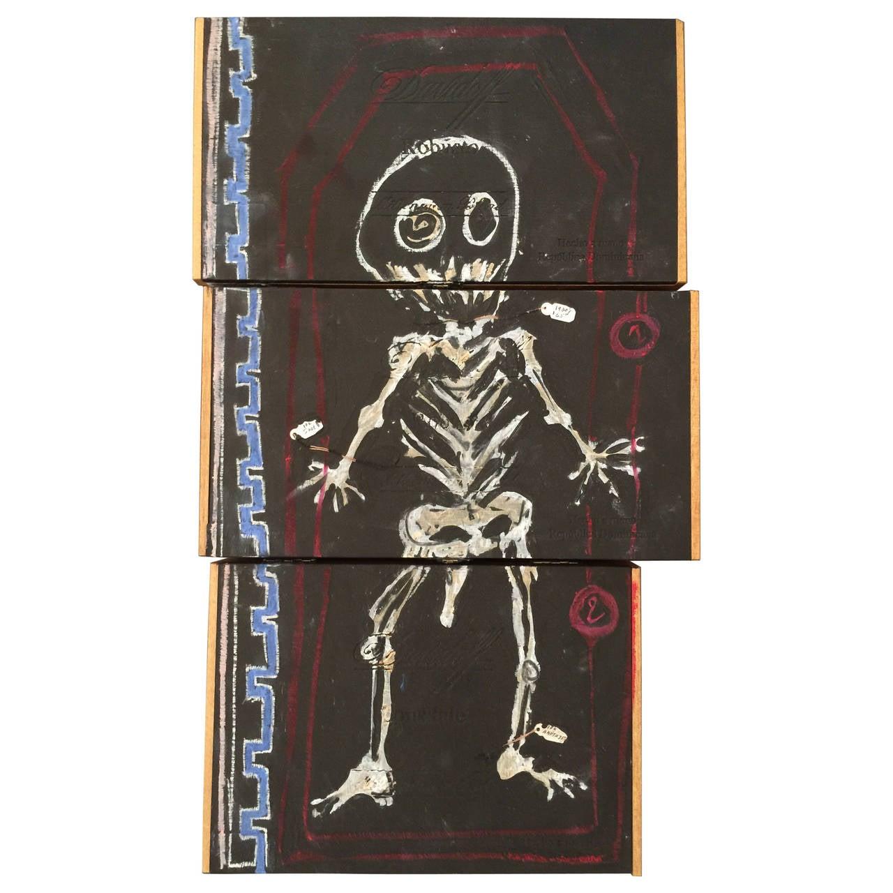 Cigar Box Wall Art: Basquiat Inspired Mixed Media Cigar Box Wall Art At 1stdibs